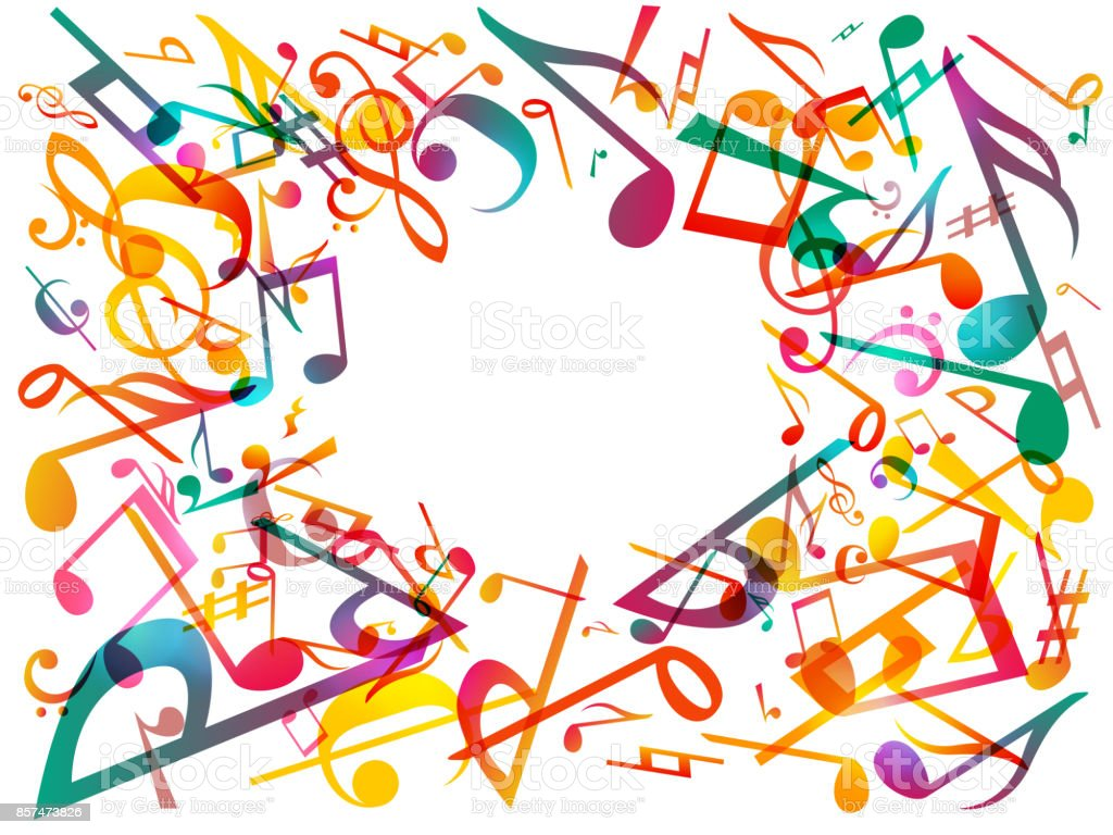 Colorful Music Notes Vector Illustration Abstract White Background Royalty Free