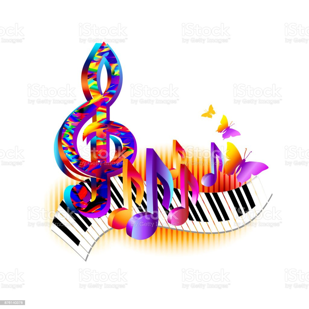 Colorful music notes with piano keyboard and treble clef stock colorful music notes with piano keyboard and treble clef royalty free colorful music notes with biocorpaavc Image collections