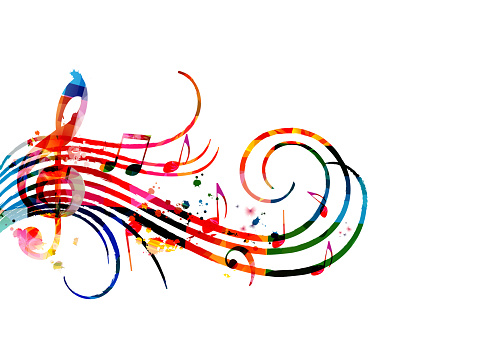 Colorful music promotional poster with music notes isolated vector illustration. Artistic abstract background with music staff for music show, live concert events, party flyer template