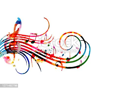 istock Colorful music promotional poster with music notes isolated vector illustration. Artistic abstract background with music staff for music show, live concert events, party flyer template 1271492798