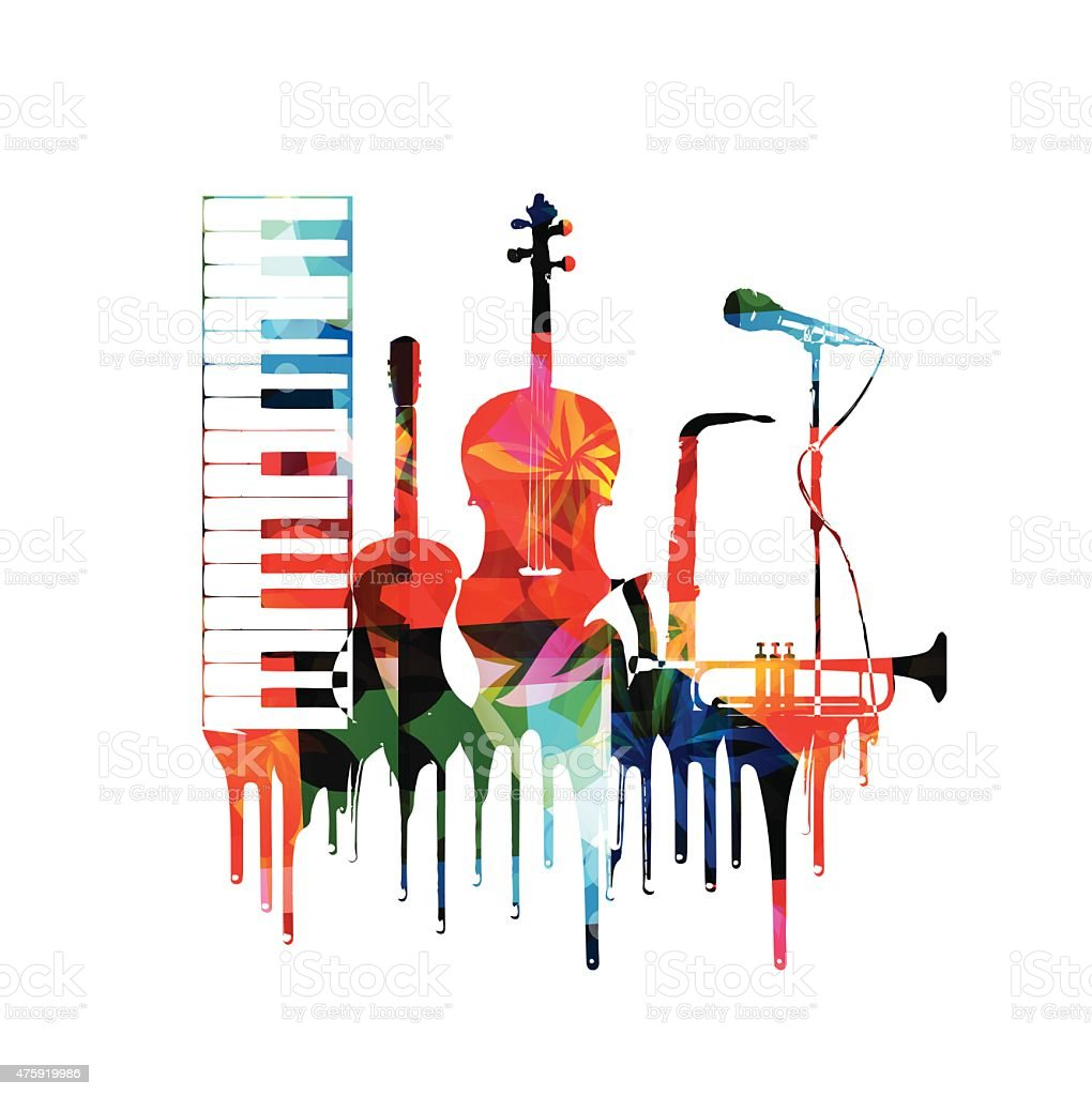 Colorful musical instruments design vector art illustration