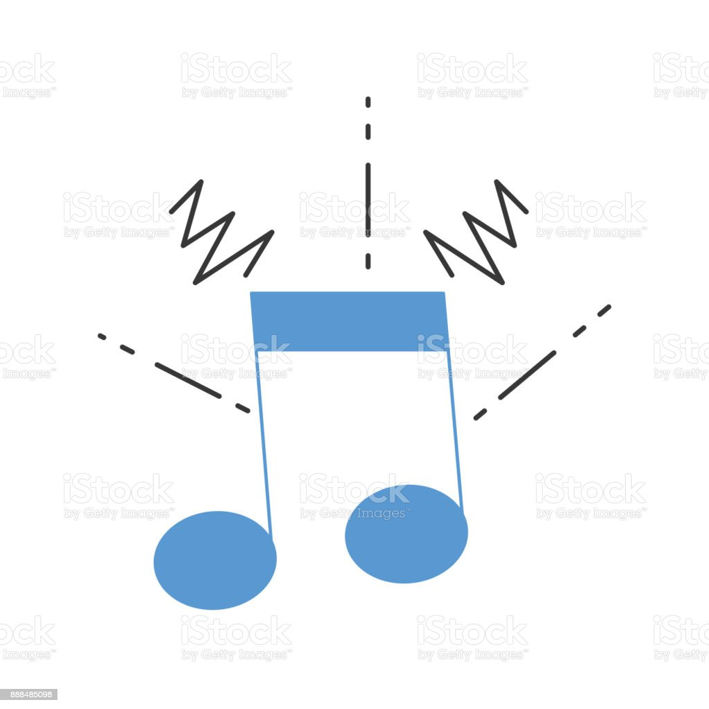 colorful musical note sign to rhythm sound vector art illustration