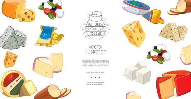 bunte natürliche bio-käse-vorlage - raclette stock-grafiken, -clipart, -cartoons und -symbole