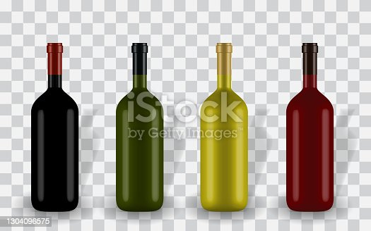 istock Colorful naturalistic closed 3D wine bottle of different colors without label. Vector Illustration 1304096575