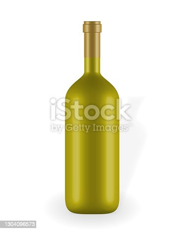 istock Colorful naturalistic closed 3D wine bottle without label. Vector Illustration 1304096573