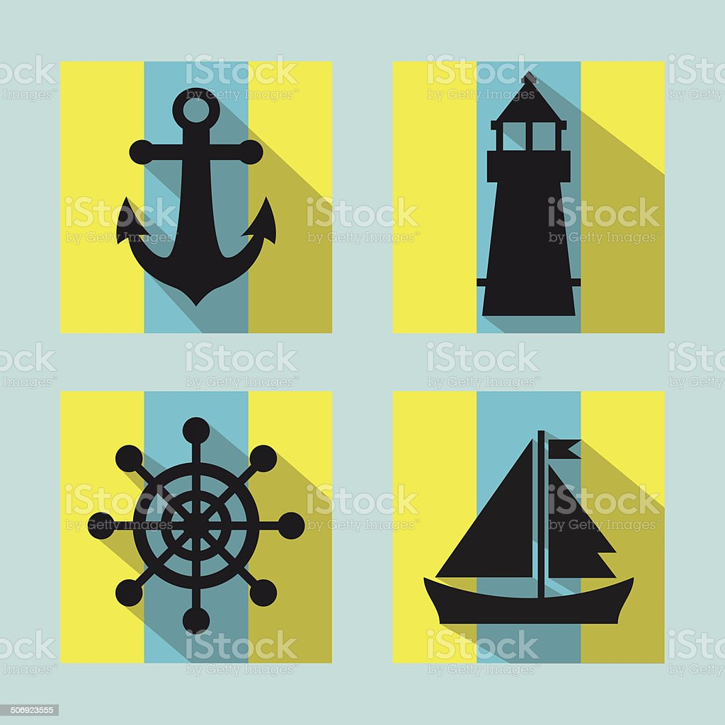 Colorful naval icons set with long shadow vector art illustration
