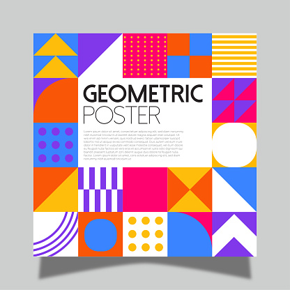 Colorful neo geometric poster. Grid with color geometric shapes. Modern abstract promotional flyer background vector illustration.Geometric template poster, brochure neo pattern.