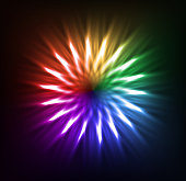 Colorful neon flower on black backdrop. Vector background for your design.