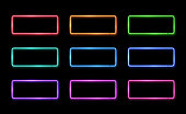 Colorful neon frame set. Square shape signs collection. Design element template. Led or halogen lamp border. 1980s style 3d electric neon tubes. Brightly lit illuminated rectangle vector illustration.