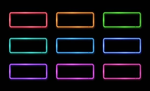 kolorowy neonowy zestaw ramek. kolekcja znaków kwadratowych. szablon elementu projektu. led lub halogenowe obramowanie lampy. 1980 stylu 3d elektryczne neony. jasno oświetlona podświetlana ilustracja wektorowa prostokąta. - neon stock illustrations