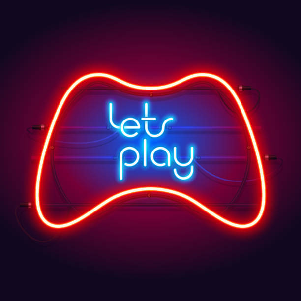 Colorful Neon Let's Play Sign with Game Controller Colorful neon let's play sign with game controller for your projects in retro-futuristic style. gamepad stock illustrations