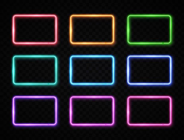 illustrazioni stock, clip art, cartoni animati e icone di tendenza di set di segni quadrati al neon colorati. raccolta di rettangoli di colore luminosi su sfondo trasparente. lampade a led o alogene splendenti incorniciano striscioni. illustrazione vettoriale futuristica brillante per la copertura decorativa - sovraesposizione effetti fotografici
