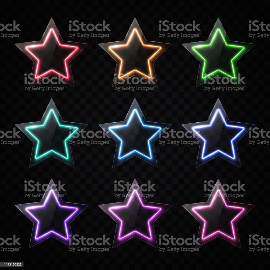 Colorful neon star shape banners set. Glowing led light stars with...