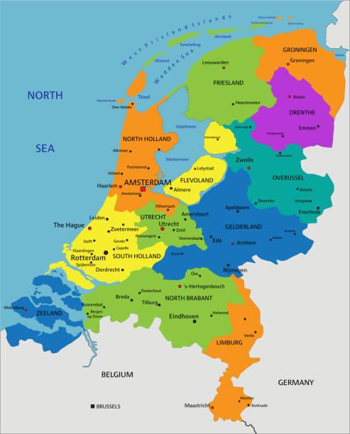 stockillustraties, clipart, cartoons en iconen met kleurrijke nederlandse politieke kaart. - eindhoven