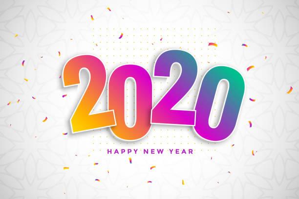 buntes neues Jahr 2020 im 3d-Stil mit Konfetti – Vektorgrafik