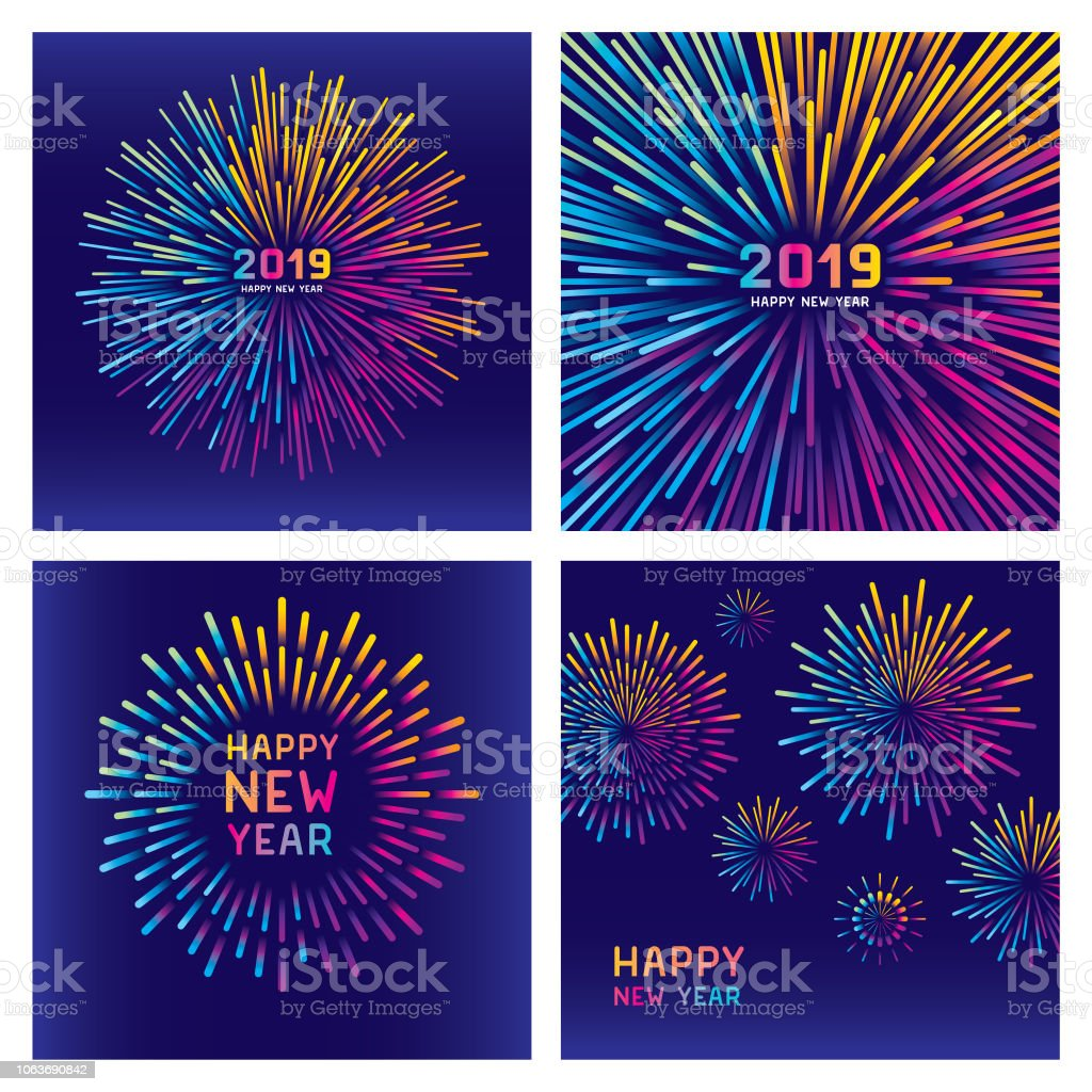 Colorful new year fireworks set Editable set of vector illustrations on layers. This image includes two clipping masks. 2019 stock vector