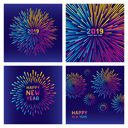 Colorful new year fireworks set