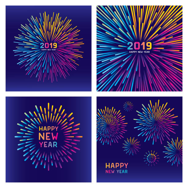 Colorful new year fireworks set Editable set of vector illustrations on layers. This image includes two clipping masks. celebration stock illustrations