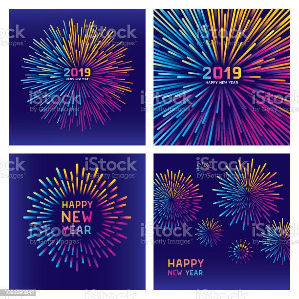 Colorful New Year Fireworks Set Stock Illustration - Download Image Now