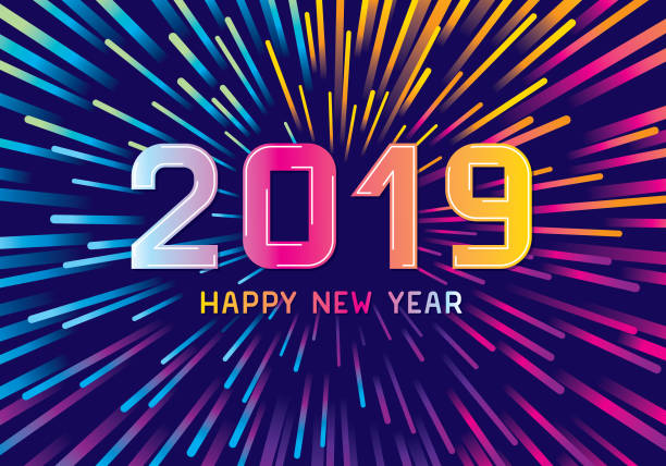 Colorful new year fireworks Editable vector illustration on layers.  This is an AI EPS 10 file format, with transparency effects, gradients and one clipping mask. pyrotechnic effects stock illustrations