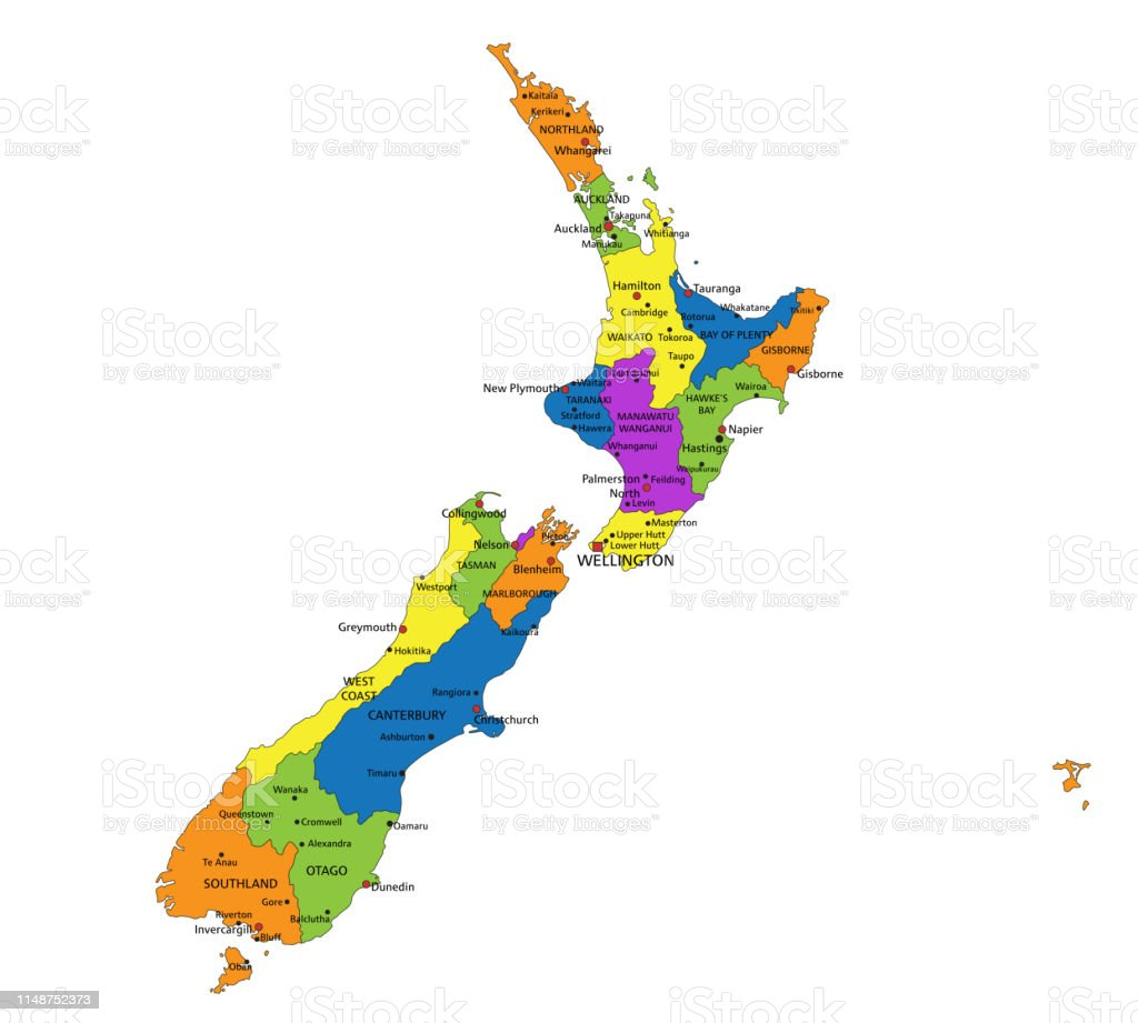 New Zealand Map Labeled.Colorful New Zealand Political Map With Clearly Labeled Separated