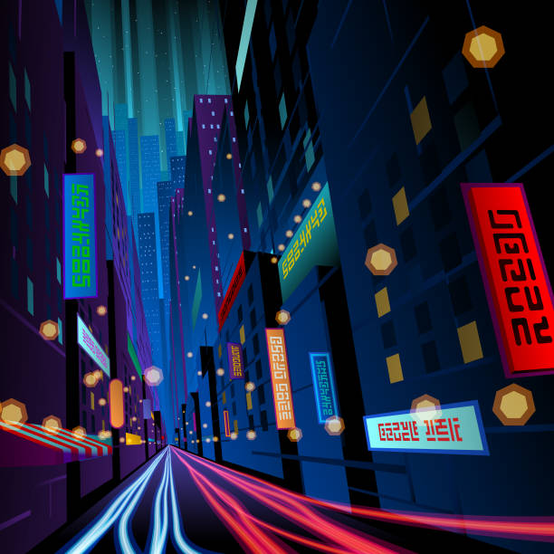 colorful night street with signages vector art illustration