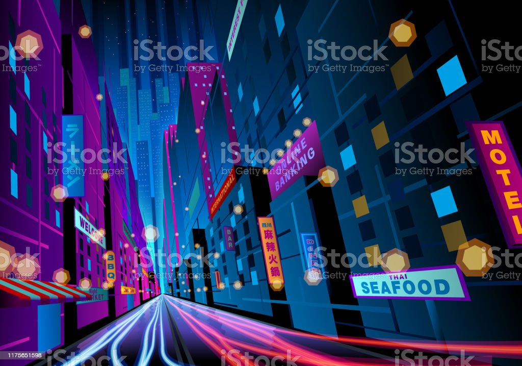 colorful night street with signages A colourful night street scene with light trails and signages. Advertisement stock vector