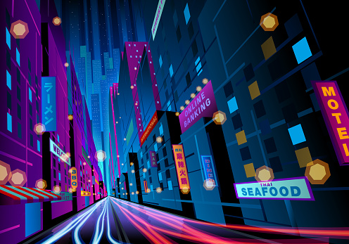 colorful night street with signages