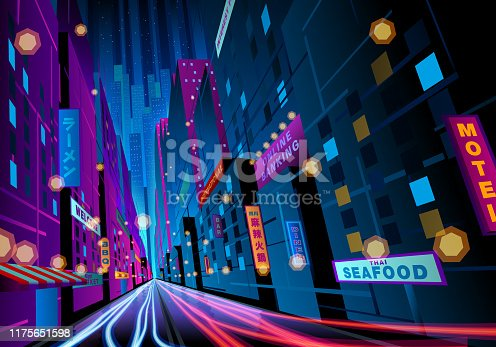 istock colorful night street with signages 1175651598