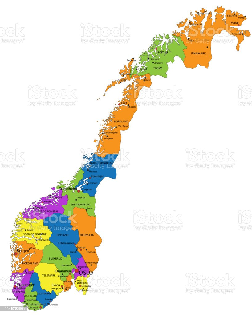 Cartina Politica Norvegia.Mappa Politica Della Norvegia Colorata Con Strati Chiaramente Etichettati E Separati Immagini Vettoriali Stock E Altre Immagini Di Arancione Istock