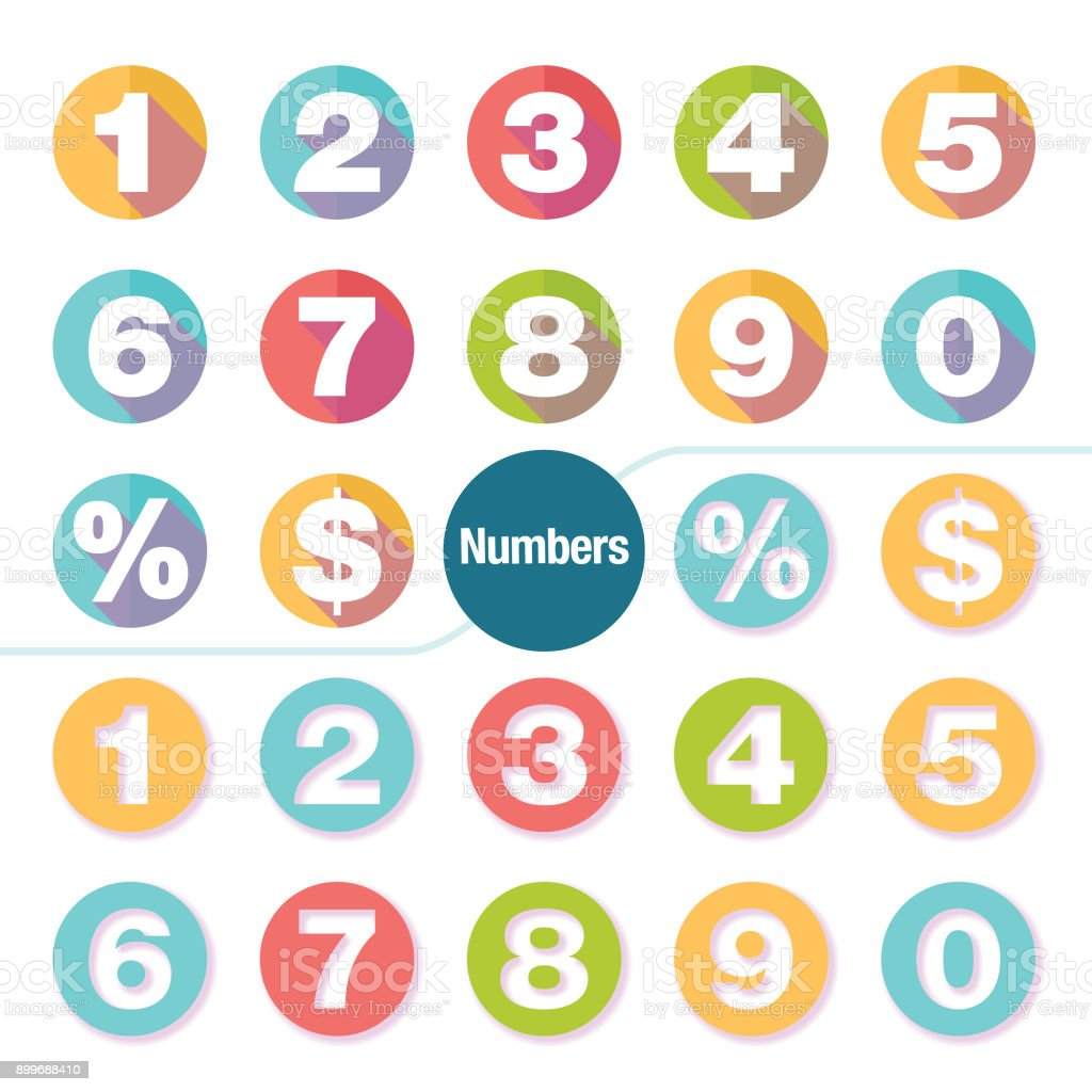 colorful number icon set