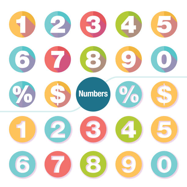 colorful number icon set 2 set of modern number icon set with minimal shadow effect. number stock illustrations