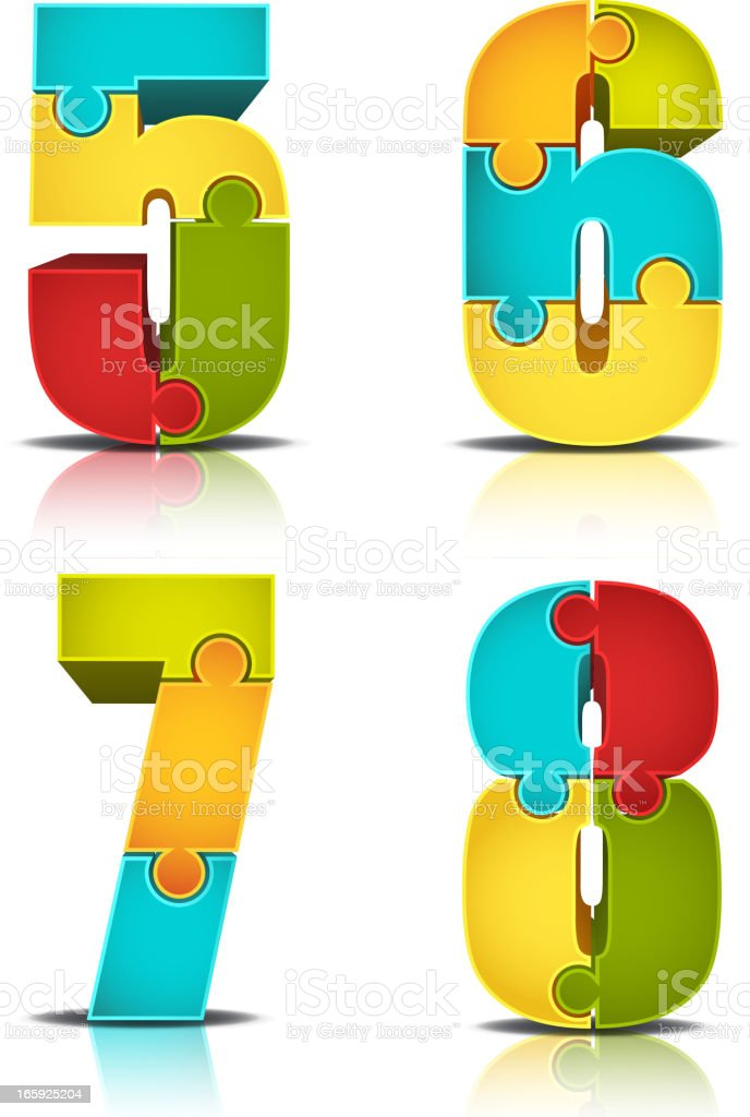 Colorful Number Puzzle vector art illustration
