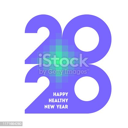 istock Colorful numbers 2020 with abstract laser cross and wishes of happy and healthy New Year 1171664260