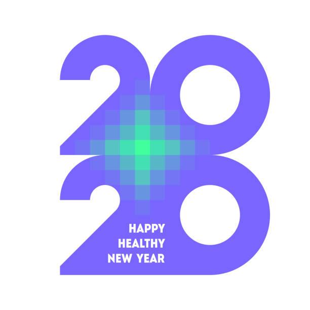 bunte zahlen 2020 mit abstraktem laserkreuz und wünschen des glücklichen und gesunden neuen jahres - laservorlagen stock-grafiken, -clipart, -cartoons und -symbole