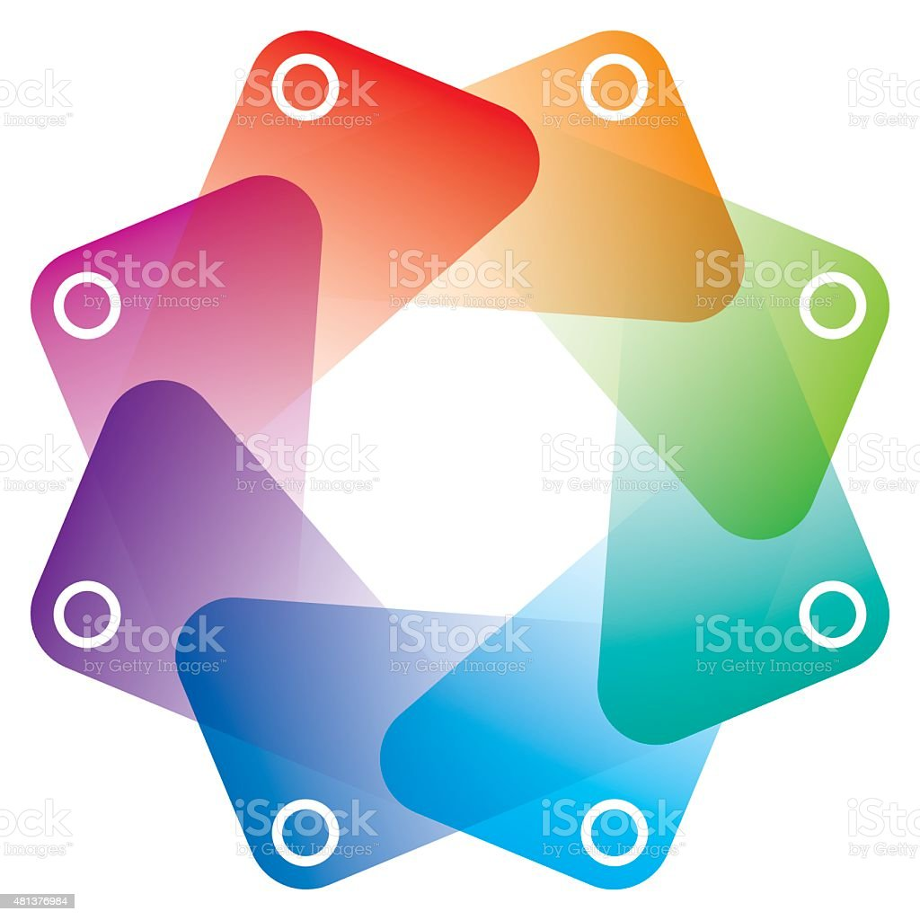 Colorful Octagon Symbol with transparent effect. vector art illustration