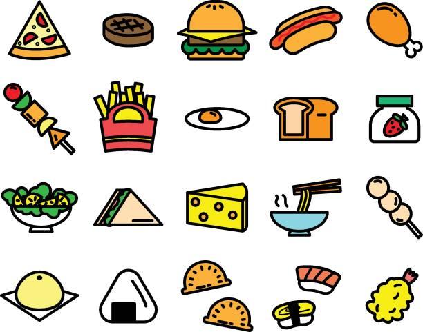 白い背景にさまざまな食品のアイコンのカラフルです - 和食点のイラスト素材/クリップアート素材/マンガ素材/アイコン素材