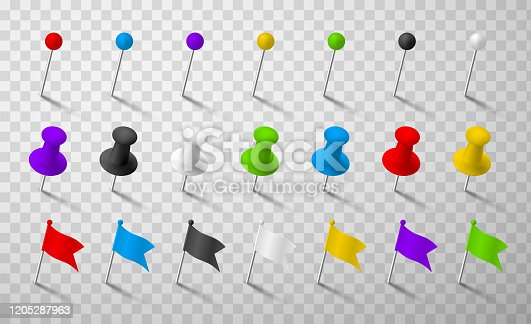 Colorful office pins realistic 3d vector illustrations set. Pushpins of different forms isolated on transparent background. Stationery pieces collection. Attachment, pinning, needle