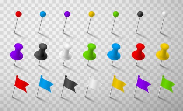 bunte büro pins realistische 3d vektor-illustrationen set - heftzwecke stock-grafiken, -clipart, -cartoons und -symbole