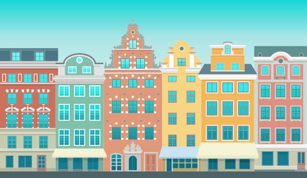 bildbanksillustrationer, clip art samt tecknat material och ikoner med färgstarka gamla stan i stockholm - stortorget plats i gamla stan. stiliserad platt mycket detaljerad illustration av en gammal europeisk stad - stockholm