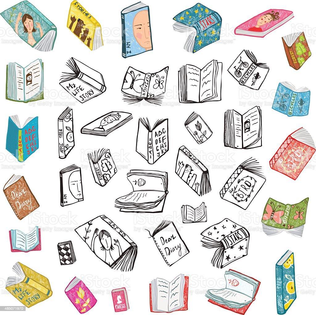 Ilustración De Dibujo Colorido Abierto De Los Libros De Biblioteca