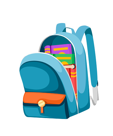 Colorful opened school bag with books. Backpack with zippers. Cartoon design. Flat vector illustration isolated on white background