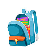 Colorful opened school bag with books. Backpack with zippers. Cartoon design. Flat vector illustration isolated on white background.