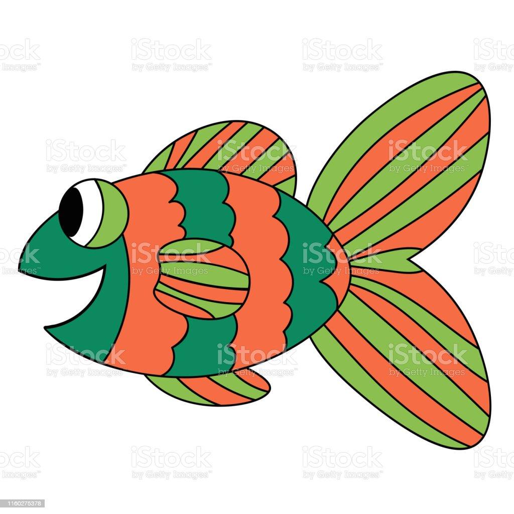 Vetores De Peixes Bonitos Alaranjados E Verdes Coloridos Dos