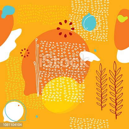Colorful orange seamless background pattern with lemons and abstract elements Vector illustration