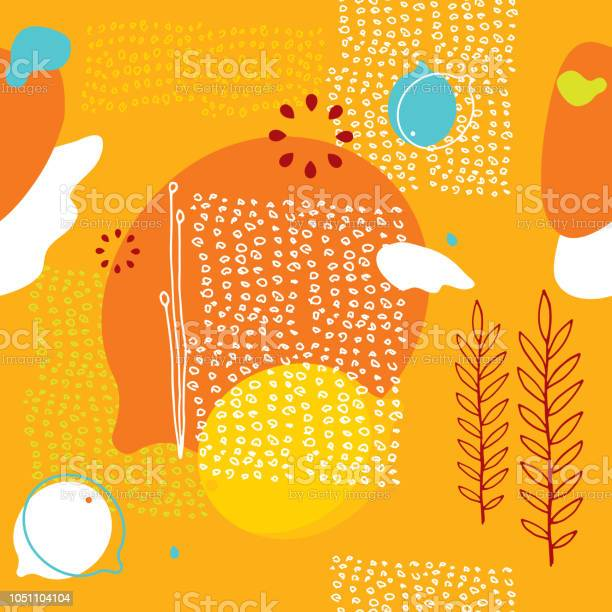 Colorful orange seamless background pattern with lemons and abstract vector id1051104104?b=1&k=6&m=1051104104&s=612x612&h=r8c 017ev9sekato6ccvxs5exbuqib1fdqlbijuwtwc=