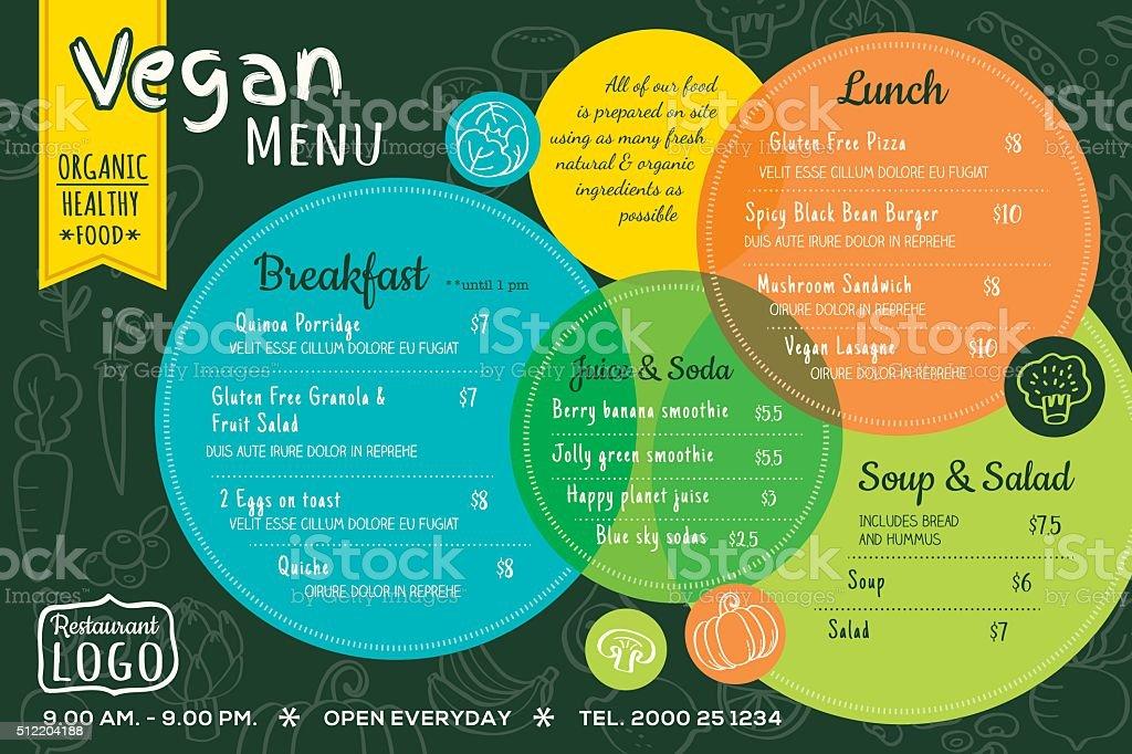 colorful organic food vegan restaurant menu board or placemat