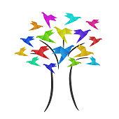 Colorful origami birds crane on tree, business logo, education concept, stock vector illustration