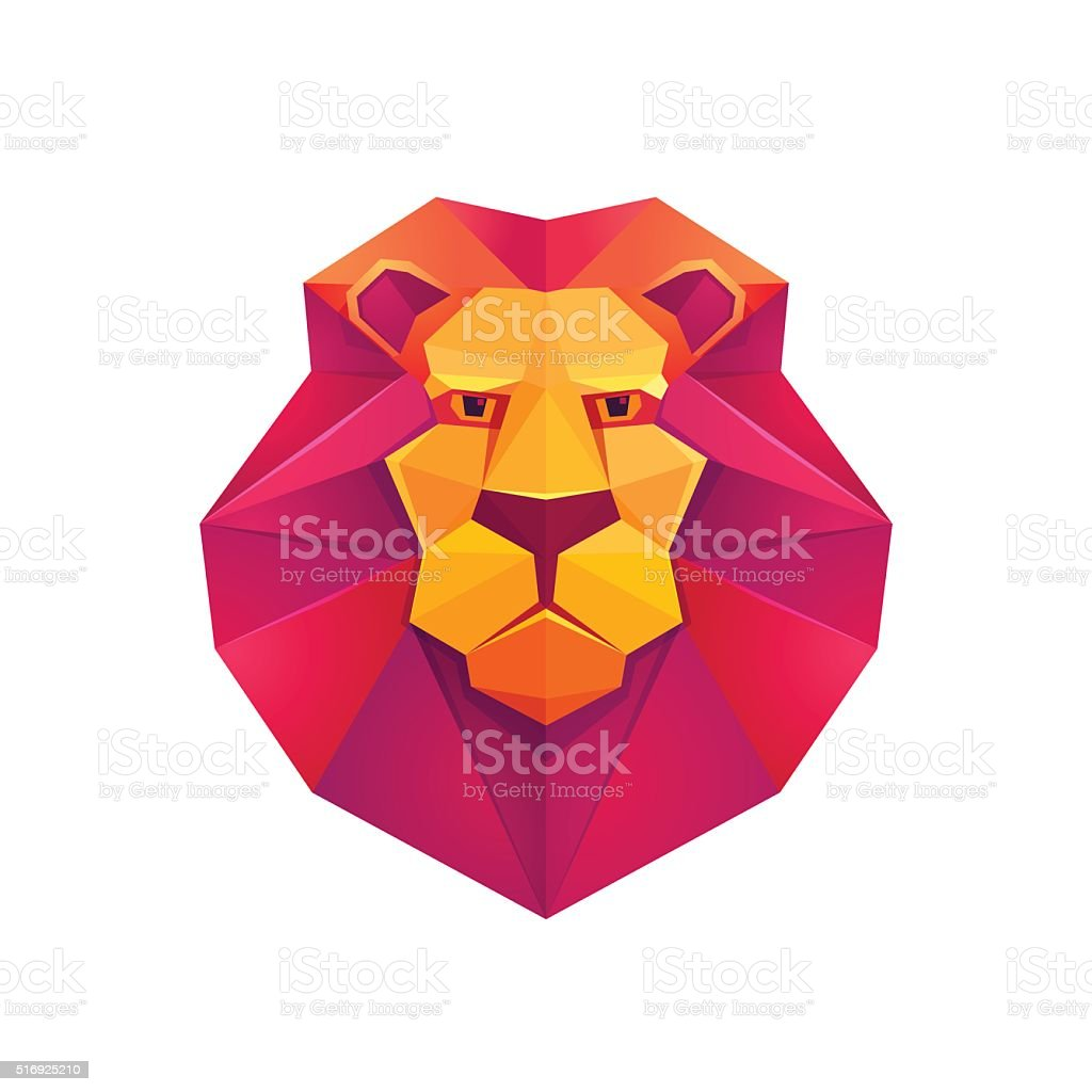 Colorful Origami Lion Low Poly Character Royalty Free