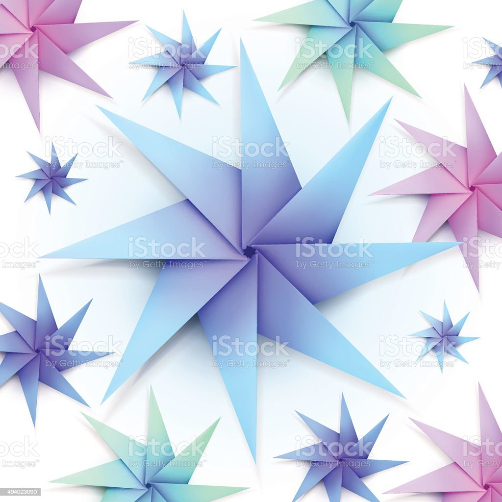 Colorful Origami Snowflakes Stock Vector Art More Images Of 2015